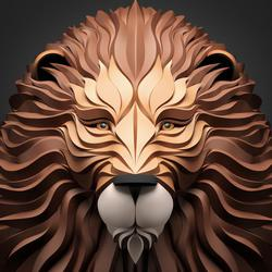 3d vector portraits of lion  by maxim shkret  promote