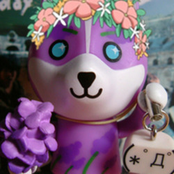Lavendar dog with flowers promote